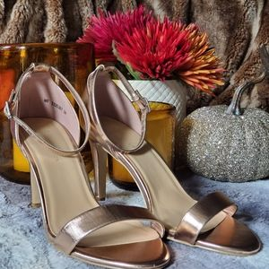 ASOS Rose gold heeled sandals- size 9W